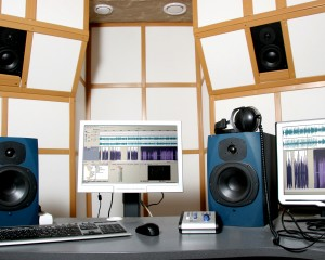 work place of audio engineer of professional audio studio