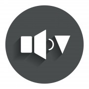 Speaker low volume sign icon. Sound symbol. Circle flat button with shadow. Modern UI website navigation. Vector