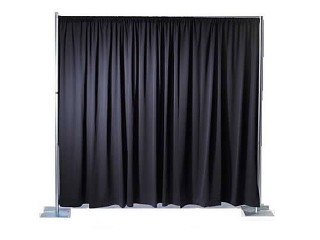 Drap Curtain BLACK 4.3m W X 6m H (Base Plate x 2,Crossbar x 1,Upright Bars x 2