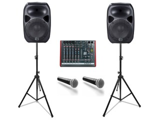 Duo PA Pack- 2xSpeakers,Mixer,Stands and Cables