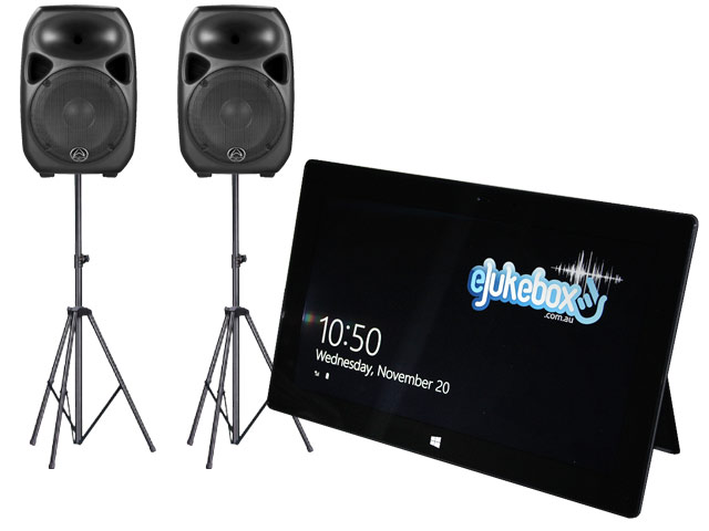"eJukebox with 2 x 15"" Active Speakers on stands"