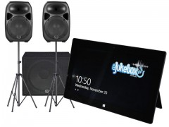 "eJukebox with 2 x 15"" Active Speakers on stands and 18"" Sub"