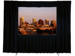 Projector Screen 4:3 10ft x7.6ft . 16:9 10ftx5.75ft Valance Drap  w/ Roadcase Front & Rear Project