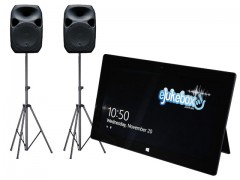 "eJukebox with 2 x 12"" Active Speakers on stands"